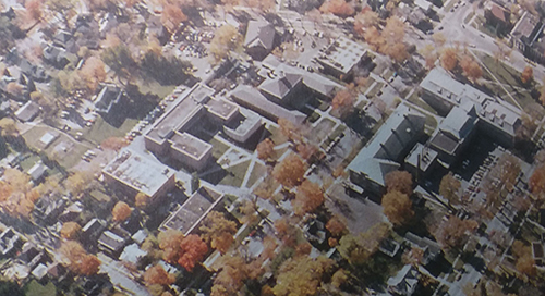Aerial view of downtown campus