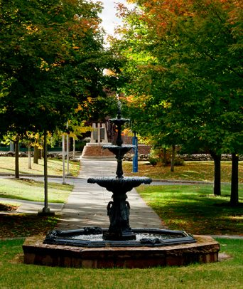 Fountain in front of Holcroft House